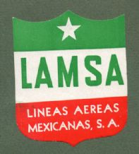 Collectible old Airline luggage label  LAMSA  #195